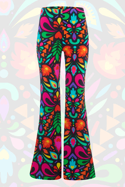 Rainbow Black Wide Leg Flares
