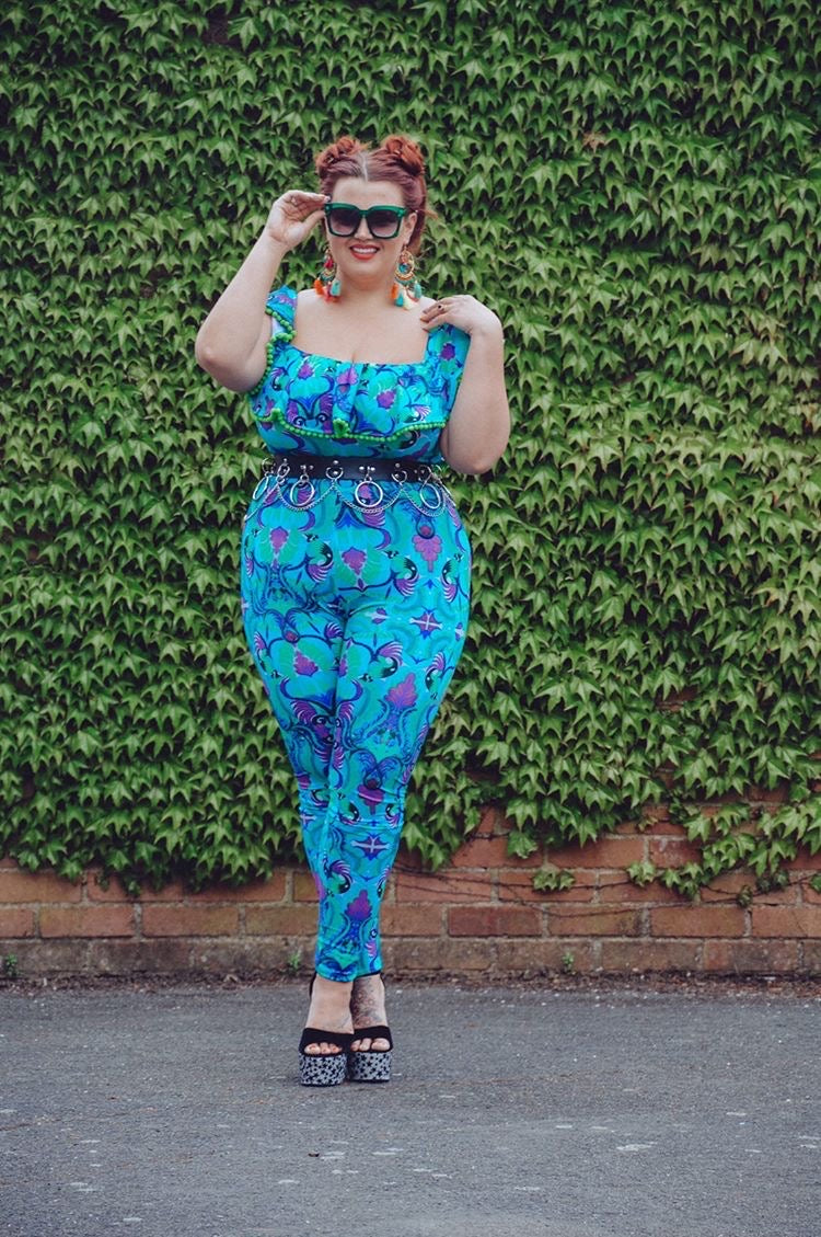 Blue Tribal Tales Frill Catsuit