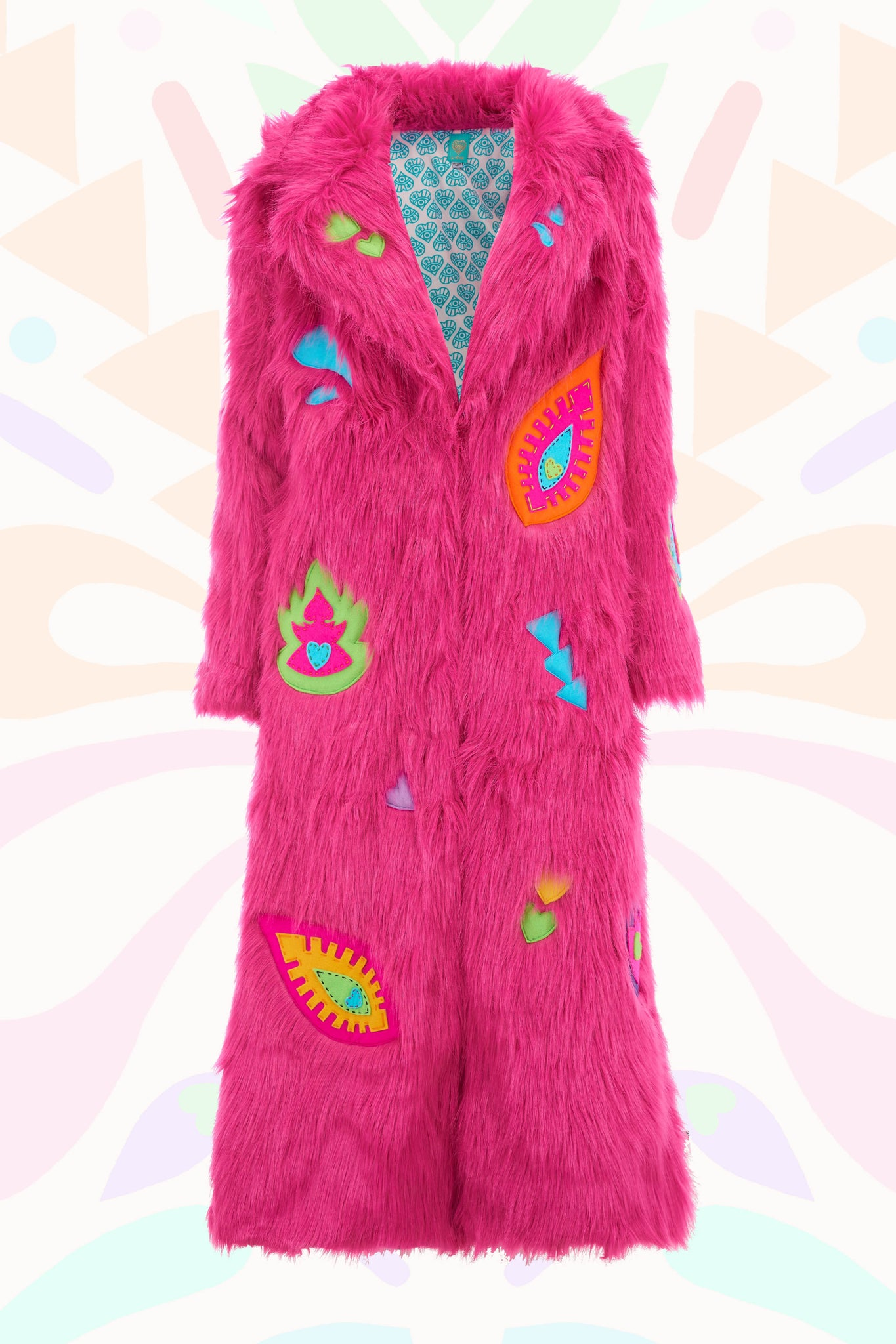 Pink Fur and Appliqué Patch coat
