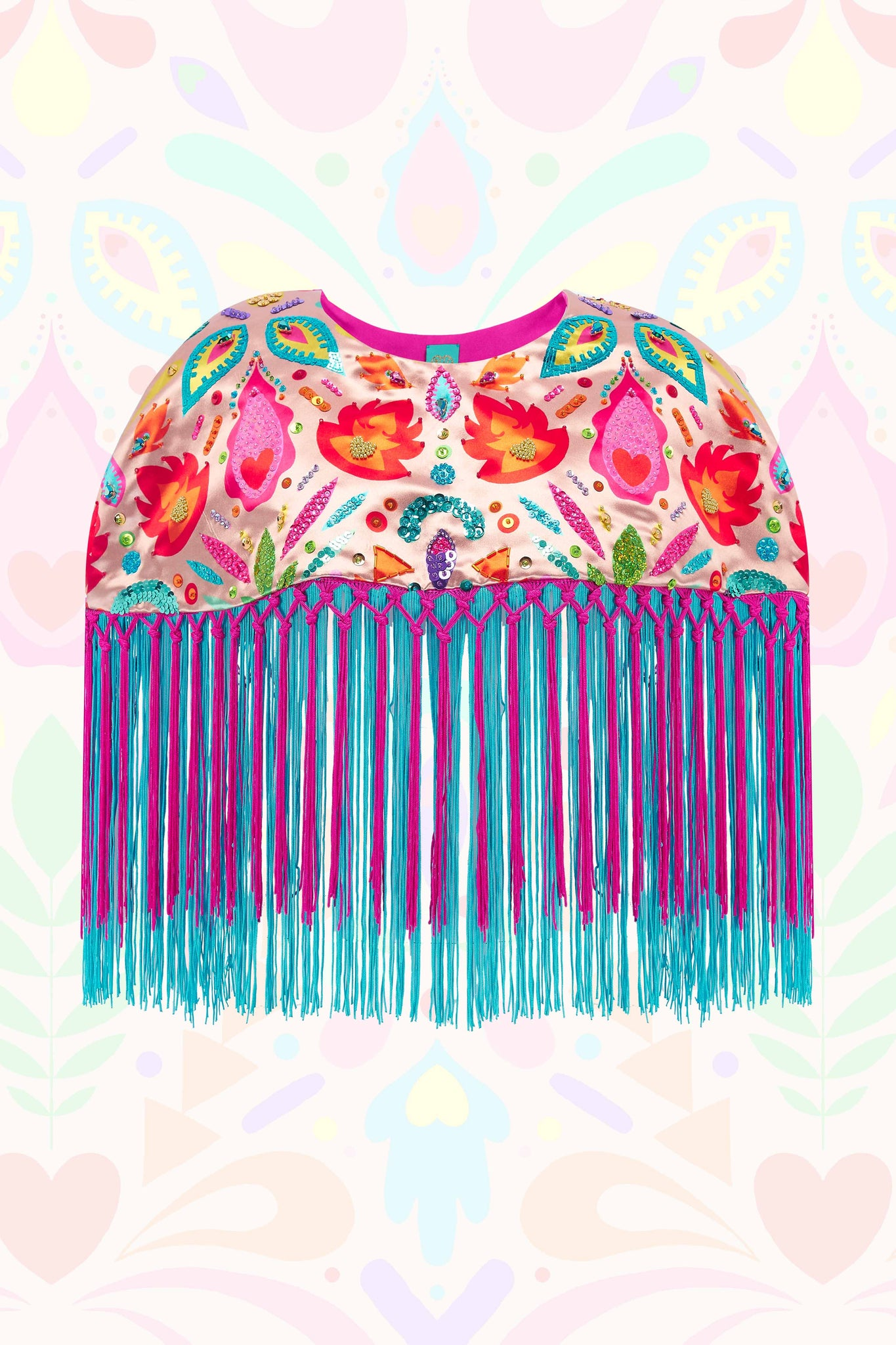 Metallic Sequin Beaded Fringe Capelet