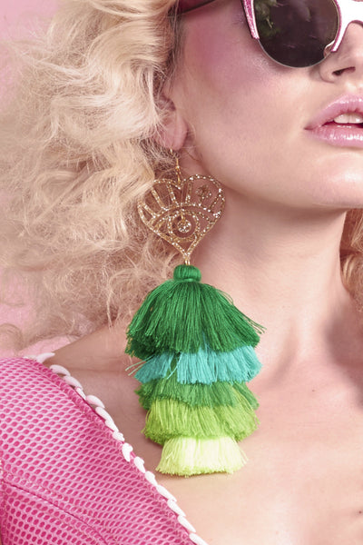 Mega Green Tassel Logo Earrings