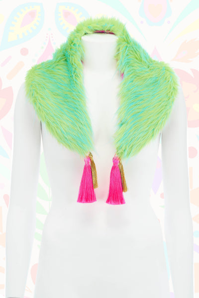 Lime Green Fur Collar with Tassel Detail