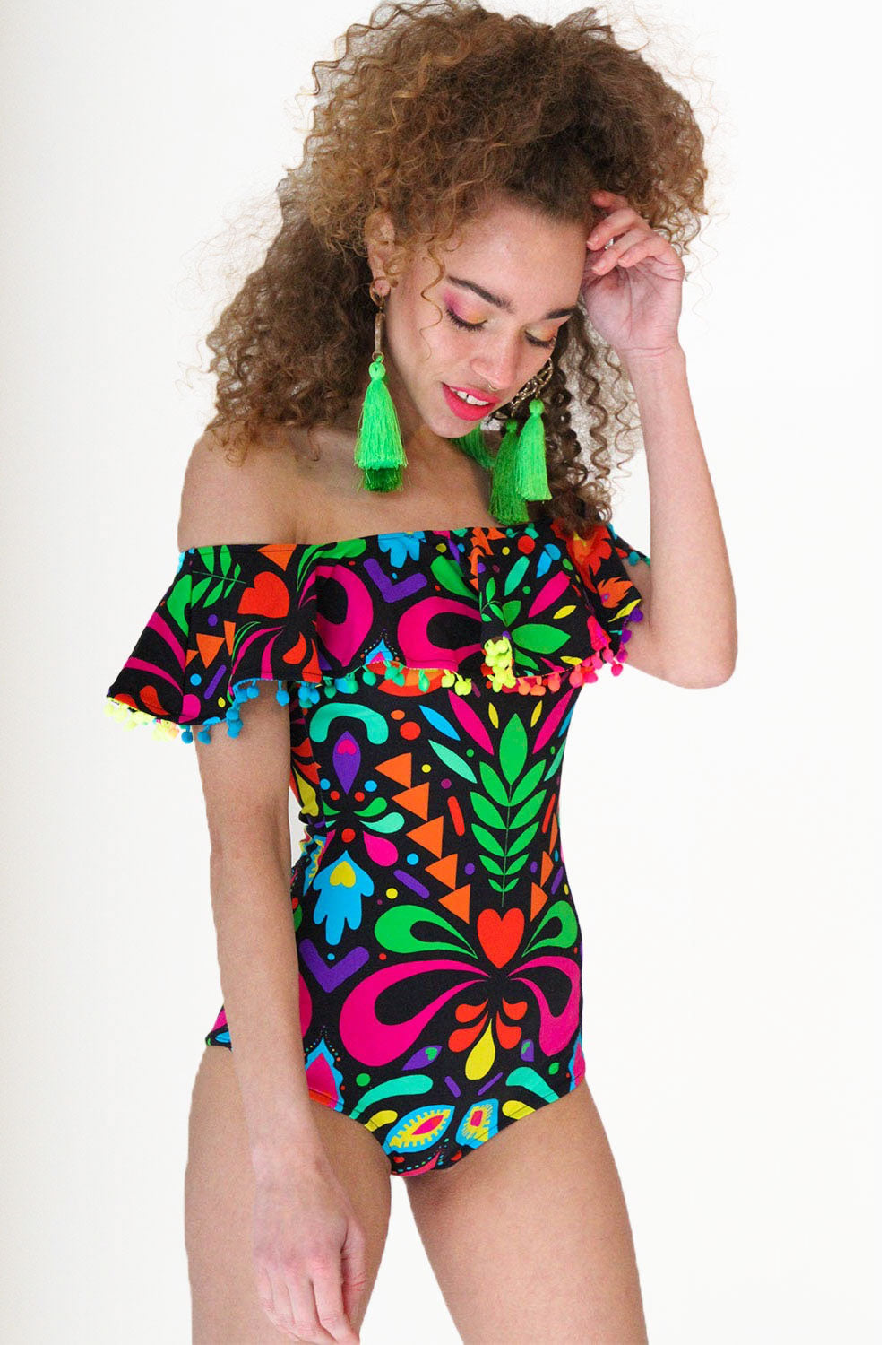 Rainbow Black Festival Frill Playsuit