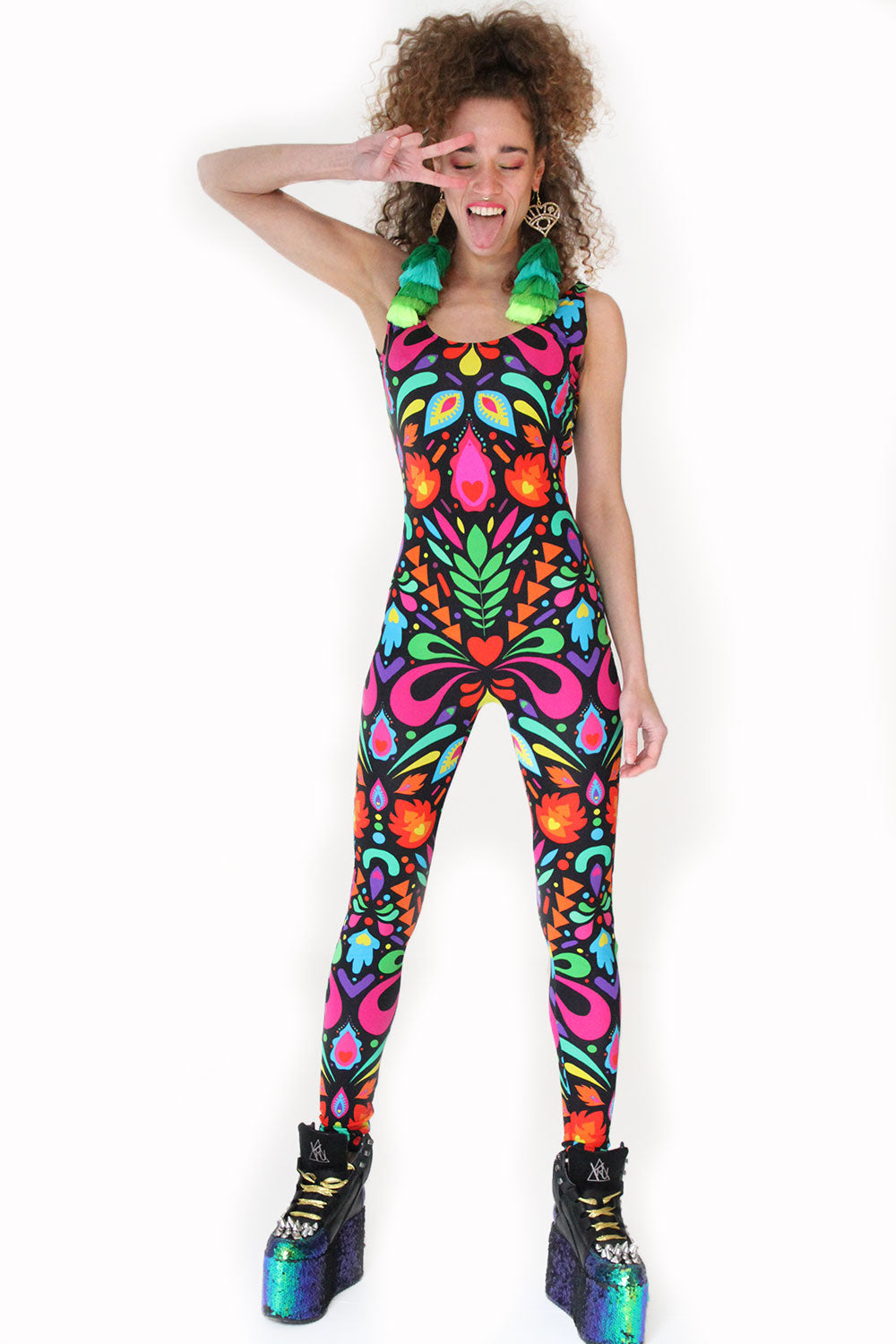 Rainbow Black Party Catsuit