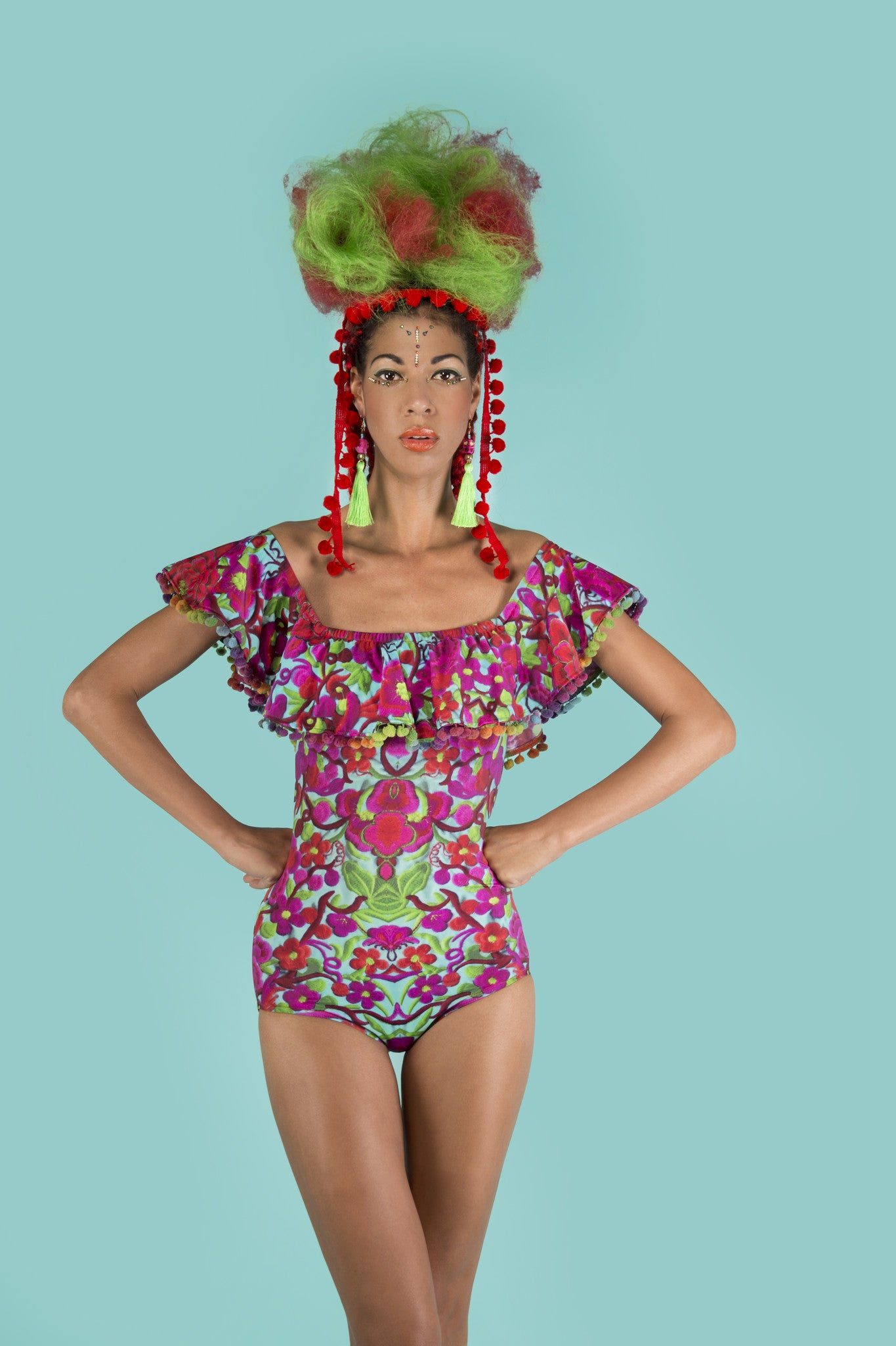 Folklorico Playsuit With Off The Shoulder Pom Pom Frill