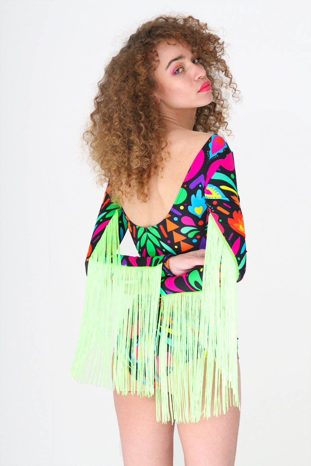 Rainbow Black Festival Fringed Crop Top