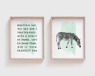 Christian Wall Art | Christian Gifts | Beautiful One | Zebra