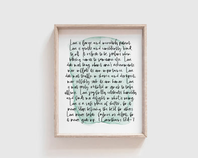 The Passion Translation | Christian Wedding Gifts | Love Is Patient Love Is Kind | 1 Corinthians 13 | Christian Gifts | Christian Wall Art