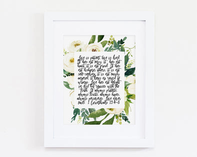 Christian Gifts | Christian Wall Art | 1 Corinthians 13:4-8 | [theme] | [occasion]  | [colour] |