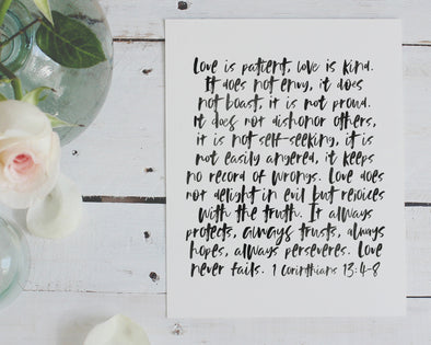 Christian Wedding Gifts | Love Is Patient Love Is Kind | 1 Corinthians 13 | Christian Wall Art