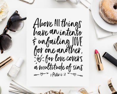 Christian Gifts | Love One Another | 1 Peter 4 8 | Christian Wall Art | 1 Peter 4:8