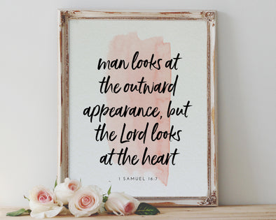 1 Samuel 16:7 | Man Looks At The Outward Appearance | The Lord Looks At The Heart | Christian Printables | Bible Verse Wall Art | Christian Gifts | Scripture Decor | Wondrous Works | Etsy | Blush Wall Decor