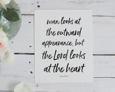 1 Samuel 16:7 | Man Looks At The Outward Appearance | The Lord Looks At The Heart | Christian Printables | Bible Verse Wall Art | Christian Gifts | Scripture Decor | Wondrous Works | Etsy