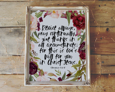 Christian Gifts | Christian Wall Art | 1 Thessalonians 5:16-18 | [theme] | [occasion]  | [colour] |