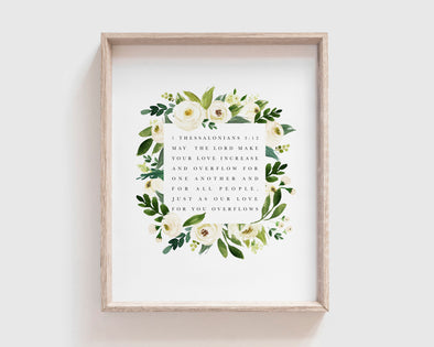 Christian Wedding Gifts | 1 Thessalonians 3 12 | Love Increase | Christian Gifts | Christian Wall Art | 1 Thessalonians 3:12