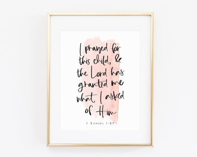 Christian Gifts | Christian Wall Art | 1 Samuel 1:27 | Wondrous Works