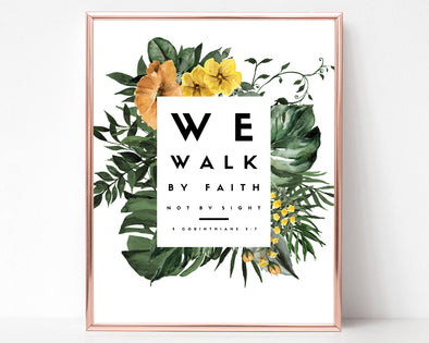 2 Corinthians 5:7 |  We Walk By Faith | Not By Sight | Christian Printables | Bible Verse Wall Art | Christian Gifts | Scripture Decor | Wondrous Works | Etsy