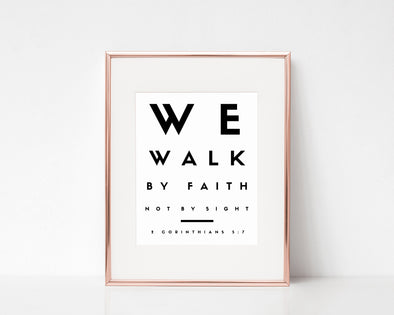 2 Corinthians 5:7 |  We Walk By Faith | Not By Sight | Christian Printables | Bible Verse Wall Art | Christian Gifts | Scripture Decor | Wondrous Works | Etsy | Christian Abstract