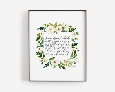 Christian Gifts | Christian Wall Art | 2 Timothy 1:7 | [theme] | [occasion]  | [colour] |