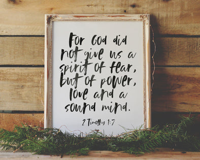 Christian Gifts | Christian Wall Art | 2 Timothy 1:7 | Wondrous Works