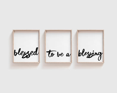 Blessed to be a blessing | Christian Printables | Bible Verse Wall Art | Christian Gifts | Scripture Decor | Wondrous Works | Etsy | Set Of Three | Black and White