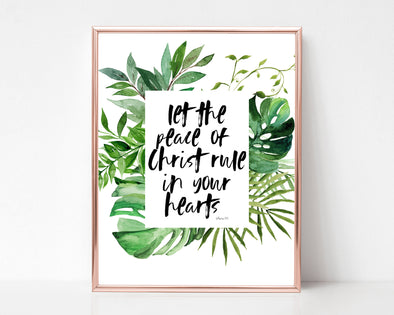 Colossians 3:15 | Let the peace of Christ rule in your hearts | Christian Printables | Bible Verse Wall Art | Christian Gifts | Scripture Decor | Wondrous Works | Etsy | Green | Tropical | Botanical