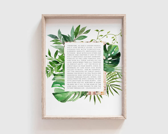 Christian Gifts | Christian Wall Art | Colossians 3:12-17 | [theme] | [occasion]  | [colour] |