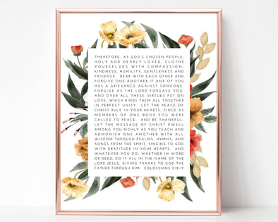 Colossians 3:12-17 | Clothes yourselves with compassion, kindness, humility, gentleness and patience | Christian Printables | Bible Verse Wall Art | Christian Gifts | Scripture Decor | Wondrous Works | Etsy | Christian Wedding Gifts | Floral