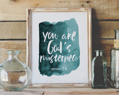 Baptism Gifts For Boys | Christian Wall Art | Christian Gifts | Ephesians 2:10 | You Are God's Masterpiece