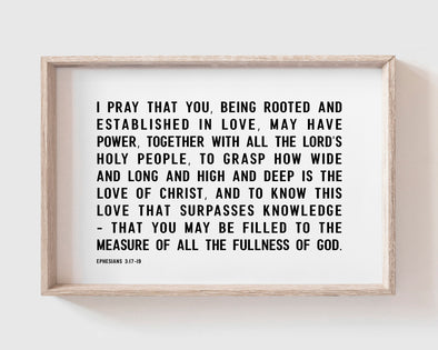 Christian Wall Art | Christian Gifts | Ephesians 3:17-19 | Rooted And Established In Love
