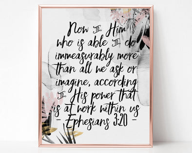 Ephesians 3:20 | Now To Him Who Is Able | Christian Printables | Bible Verse Wall Art | Christian Gifts | Scripture Decor | Wondrous Works | Etsy | Grey | Blush | 8 x 10