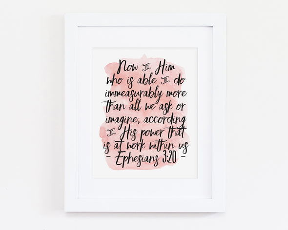 Christian Gifts | Christian Wall Art | Ephesians 3:20 | [theme] | [occasion]  | [colour] |