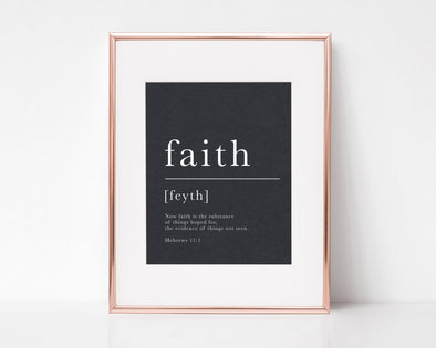Hebrew 11:1 | Faith Definition | Now Faith Is | Christian Printables | Bible Verse Wall Art | Christian Gifts | Scripture Decor | Wondrous Works | Etsy | Black and White