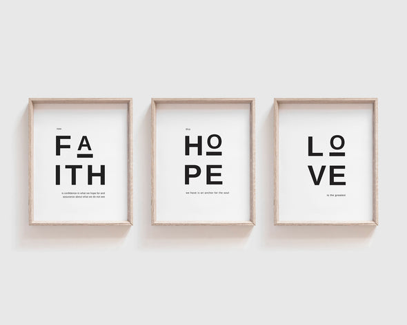 Faith Hope Love | Christian Printables | Bible Verse Wall Art | Christian Gifts | Scripture Decor | Wondrous Works | Etsy | Black and White | Minimalist Set Of Three