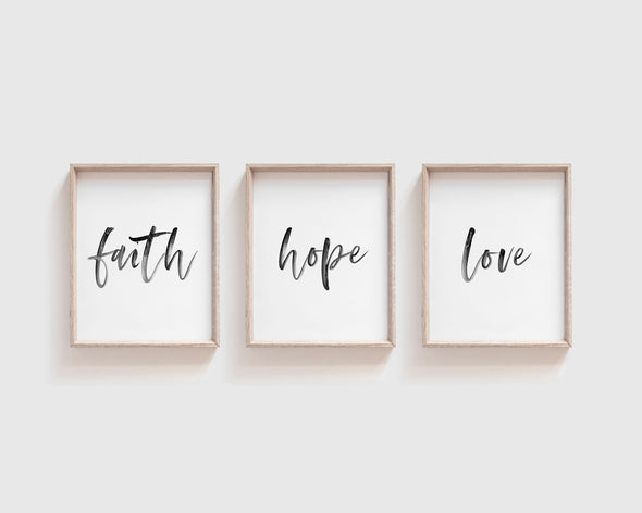Faith Hope Love | Christian Printables | Bible Verse Wall Art | Christian Gifts | Scripture Decor | Wondrous Works | Etsy | Set Of Three | Black and White