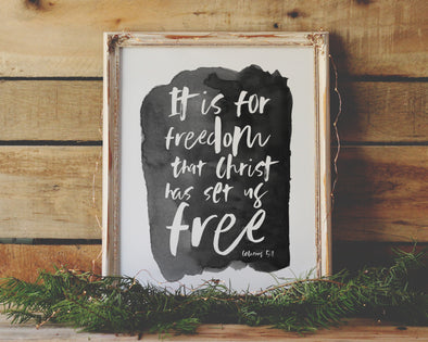 Galatians 5:1 | It Is For Freedom, Christ Has Set Us Free | Christian Printables | Bible Verse Wall Art | Christian Gifts | Scripture Decor | Wondrous Works | Etsy | Black and White