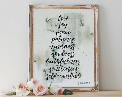 Galatians 5:22-23 Fruit of the Spirit | Love Joy Peace Patience | Christian Printables | Bible Verse Wall Art | Christian Gifts | Scripture Decor | Wondrous Works | Etsy | Christian Wedding Gifts | Rustic