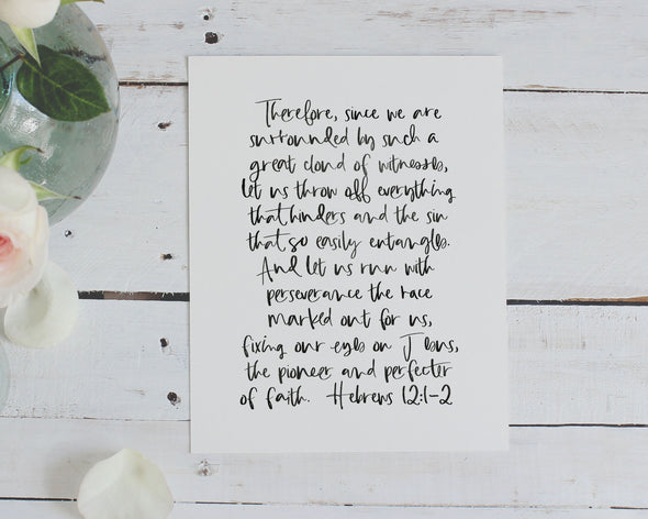 Christian Gifts | Christian Wall Art | Hebrews 12:1-2 | [theme] | [occasion]  | [colour] |