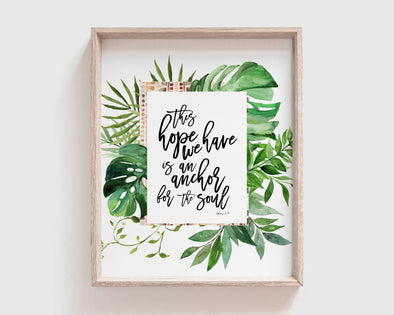 Christian Gifts | Christian Wall Art | Hebrews 6:19 | [theme] | [occasion]  | [colour] |