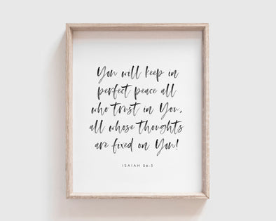 Christian Gifts | Christian Wall Art | Isaiah 26:3 | [theme] | [occasion]  | [colour] |