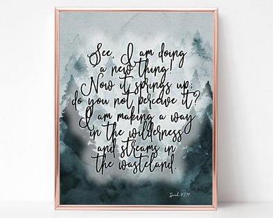 Isaiah 43:19 | I Am Making A Way In The Wilderness | Christian Printables | Bible Verse Wall Art | Christian Gifts | Scripture Decor | Wondrous Works | Etsy | Blue | 8 x 10 | Instant Download | Digital Downloads