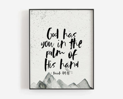 Baptism Gifts For Boys | Christian Wall Art | Christian Gifts | Isaiah 49:16 | God Has You In The Palm Of His Hand