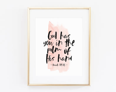 Isaiah 49:16 | God Has You In The Palm Of His Hand | Christian Printables | Bible Verse Wall Art | Christian Gifts | Scripture Decor | Wondrous Works | Etsy | Christian Nursery | Dedication Gifts | For Girls | Blush Pink Wall Art