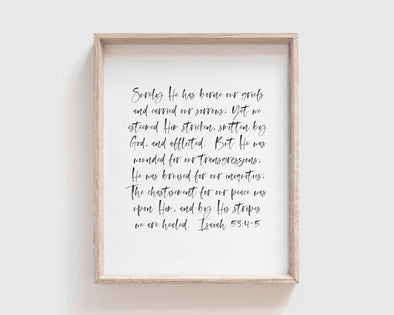 Christian Gifts | Christian Wall Art | Isaiah 53:4-5 | [theme] | [occasion]  | [colour] |