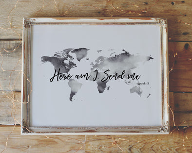 Isaiah 6:8 | Here I Am Lord | Send Me | Christian Printables | Bible Verse Wall Art | Christian Gifts | Scripture Decor | Wondrous Works | Etsy | World Map | Grey