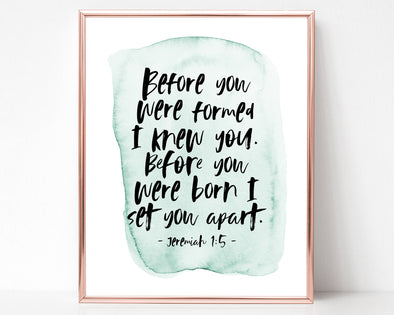 Christian Wall Art | Christian Gifts | Jeremiah 1:5 | Before I Formed You In The Womb