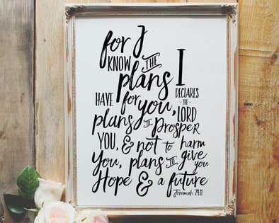 Jeremiah 29:11 | For I know the plans I have for you | Plans to prosper you | Christian Printables | Bible Verse Wall Art | Christian Gifts | Scripture Decor | Wondrous Works | Etsy | Black and White