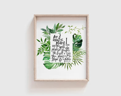 Jeremiah 29:11 | For I know the plans I have for you | Plans to prosper you | Christian Printables | Bible Verse Wall Art | Christian Gifts | Scripture Decor | Wondrous Works | Etsy | Tropical Green