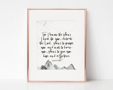 Christian Gifts | Christian Wall Art | Jeremiah 29:11 | [theme] | [occasion]  | [colour] |