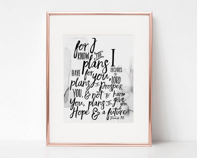 Jeremiah 29:11 | For I know the plans I have for you | Plans to prosper you | Christian Printables | Bible Verse Wall Art | Christian Gifts | Scripture Decor | Wondrous Works | Etsy | Grey